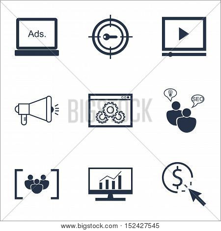 Set Of Advertising Icons On Ppc, Digital Media And Seo Brainstorm Topics. Editable Vector Illustrati