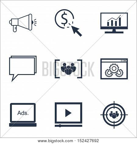 Set Of Advertising Icons On Digital Media, Market Research And Video Player Topics. Editable Vector