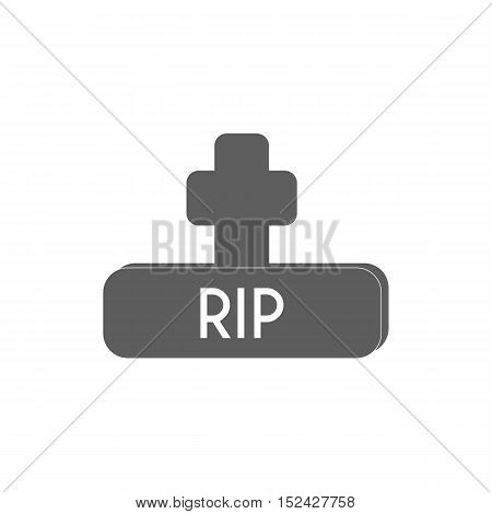 Grave on flat design vector , Gravestone Icon