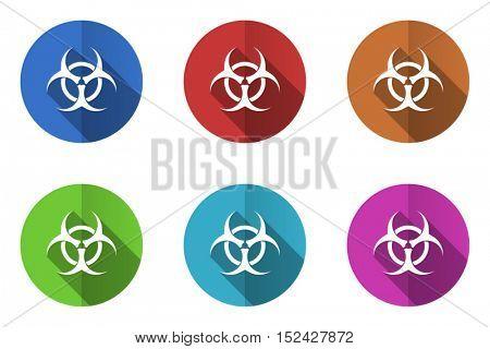 Virus biohazard flat vector icons