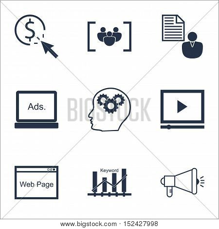 Set Of Advertising Icons On Digital Media, Keyword Optimisation And Report Topics. Editable Vector I