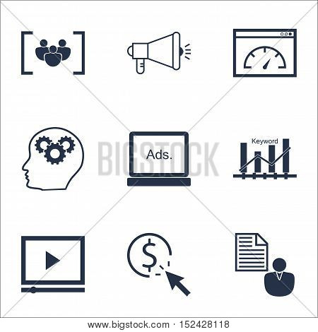 Set Of Advertising Icons On Loading Speed, Report And Video Player Topics. Editable Vector Illustrat