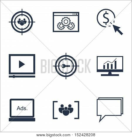 Set Of Marketing Icons On Digital Media, Market Research And Keyword Marketing Topics. Editable Vect