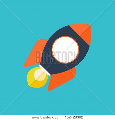 Rocket Ship In A Flat Style.vector Illustration, Project Startup And Development Process.innovation