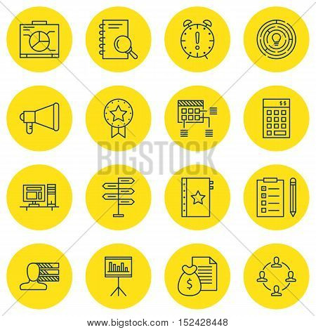 Set Of Project Management Icons On Presentation, Innovation And Opportunity Topics. Editable Vector