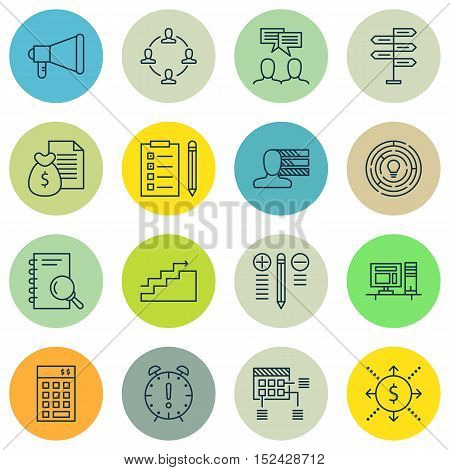 Set Of Project Management Icons On Innovation, Announcement And Opportunity Topics. Editable Vector
