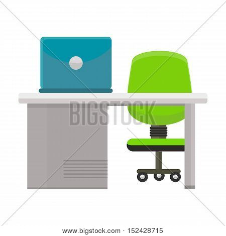 Modern office workplace with green office chair, desktop and laptop. Modern office interior with desktop in flat design. Interior office room. Office space. Working place in modern office interior
