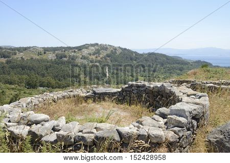 Prehistorical Ruins of a hillfort the Mountain of Facho in Cangas in the province of Pontevedra Galicia Spain.