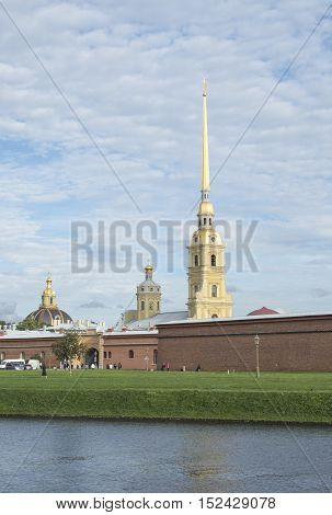 View of the bell tower of the Cathedral. Peter and Paul fortress
