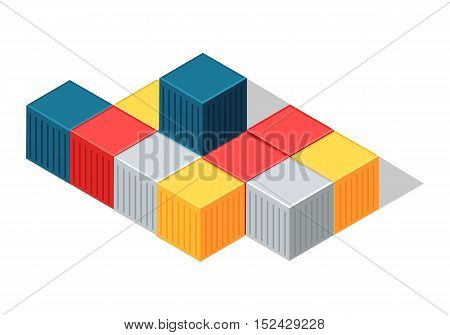 Sea containers vector. Isometric projection illustration. Line of different color metal containers for goods transportation on shops. For delivery company ad design, icons, games. Isolated on white
