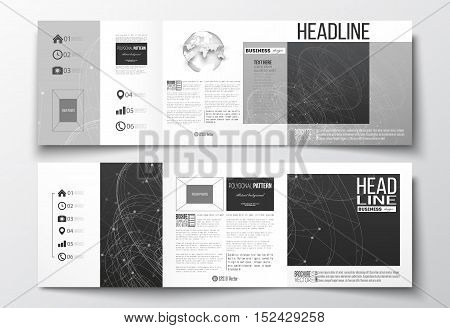 Vector set of tri-fold brochures, square design templates with element of world globe. Molecular construction with connected lines and dots, scientific or digital design pattern on black background.