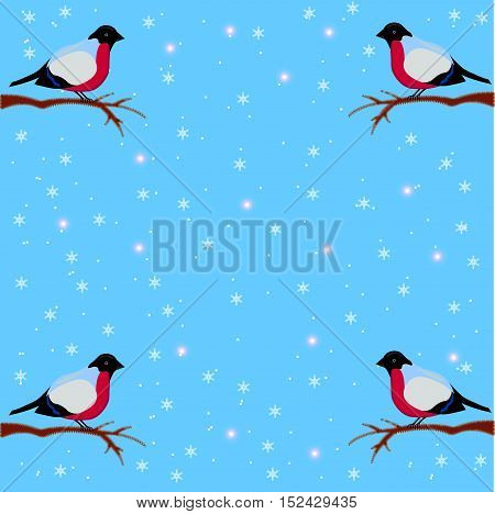 Winter background with bullfinches on snow background, sitting on a branch