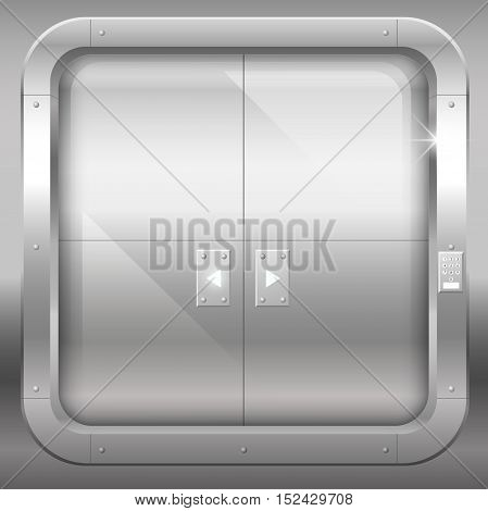 Fantastic steel double doors closed portal or laboratory bank. Vector graphics