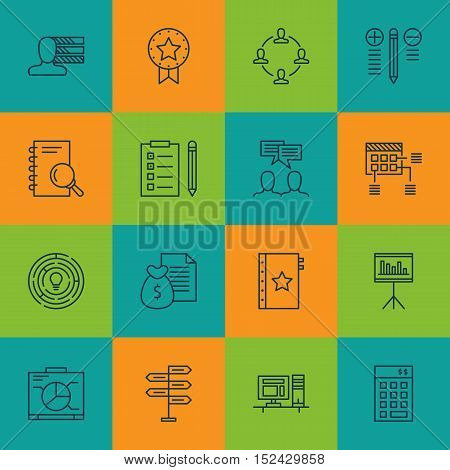 Set Of Project Management Icons On Innovation, Opportunity And Discussion Topics. Editable Vector Il