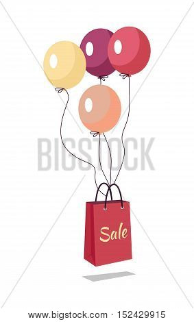 Shopping bag with text sale flying on balloons. Marketing message about price reducing. Sale banner retail icon label store and shop purchase. Market commerce illustration. Shopping bag in air. Vector