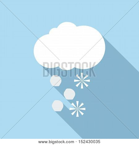 Snow and hail icon. Flat illustration of snow and hail vector icon for web