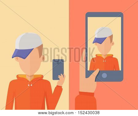 Selfie concept vector. Flat design. Man character with mobile phone in hand making photo and mobile device with portrait on screen. Illustration for mobile photo and web sharing services ad, icons.