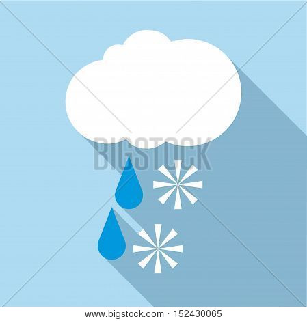Snow with rain icon. Flat illustration of snow with rain vector icon for web