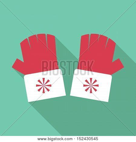 Winter fingerless gloves icon. Flat illustration of winter fingerless gloves vector icon for web