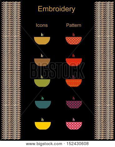 Icons deep dish soup and print ornament embroidery and knitting abstract background vector illustration