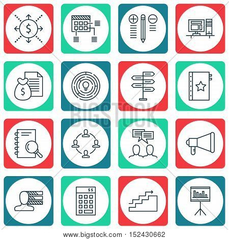 Set Of Project Management Icons On Analysis, Report And Decision Making Topics. Editable Vector Illu