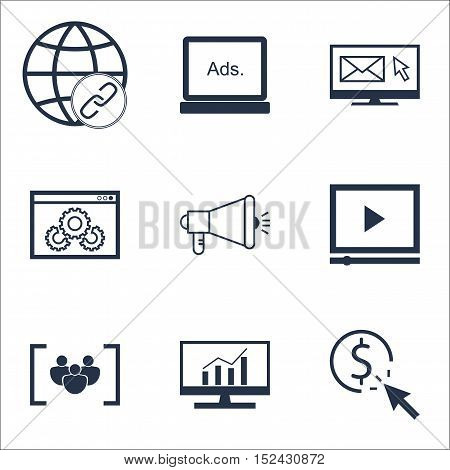 Set Of Seo Icons On Media Campaign, Connectivity And Website Performance Topics. Editable Vector Ill