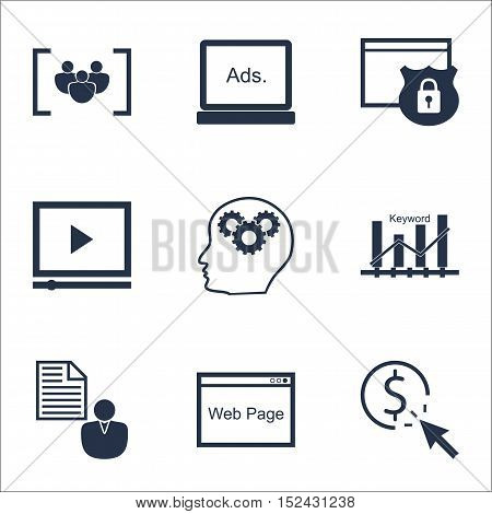 Set Of Marketing Icons On Questionnaire, Security And Video Player Topics. Editable Vector Illustrat