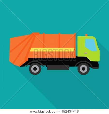 Garbage truck vector illustration in flat style. Car waste transportation picture for conceptual banners, web, app, icons, infographics, logotype design. Isolated on blue background.
