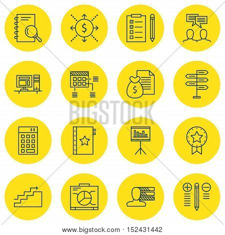 Set Of Project Management Icons On Schedule, Board And Discussion Topics. Editable Vector Illustrati