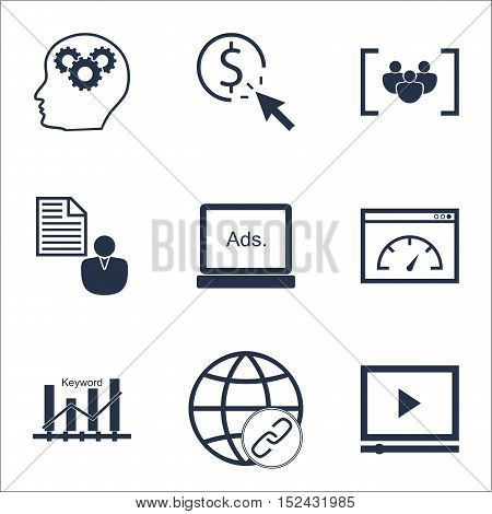 Set Of Seo Icons On Ppc, Report And Keyword Optimisation Topics. Editable Vector Illustration. Inclu