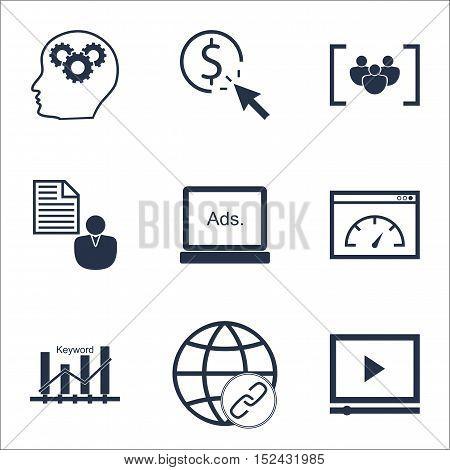 Set Of Seo Icons On Ppc, Report And Keyword Optimisation Topics. Editable Vector Illustration. Inclu