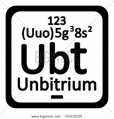 Periodic table element unbitrium icon on white background. Vector illustration.