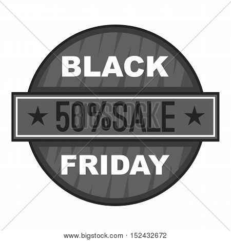 Label black friday fifty percent sale icon. Gray monochrome illustration of label black friday fifty percent sale vector icon for web