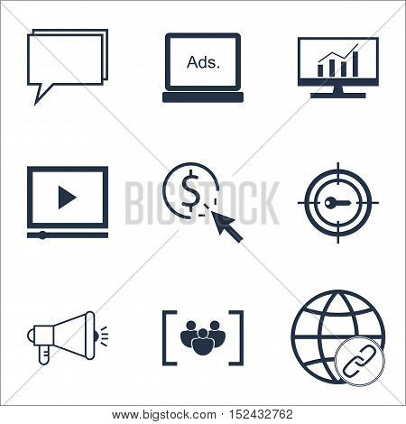 Set Of Marketing Icons On Video Player, Conference And Ppc Topics. Editable Vector Illustration. Inc