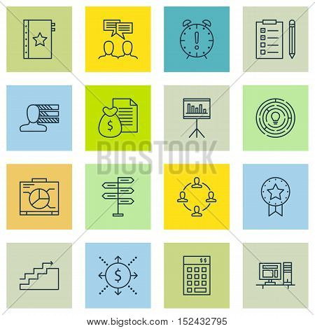 Set Of Project Management Icons On Collaboration, Computer And Reminder Topics. Editable Vector Illu