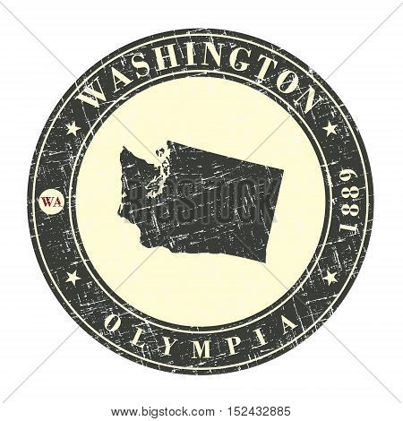 Vintage stamp with map of Washington. Stylized badge with the name of the State year of creation the contour maps and the names abbreviations . Vector illustration
