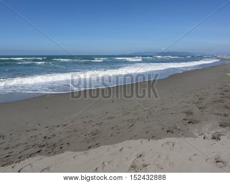 Waves of the sea on the sand beach. Forte dei marmi Province of Lucca Italy