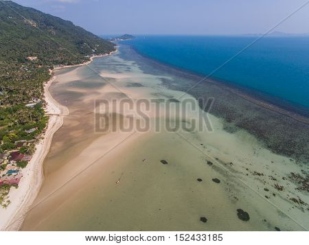 Aerial view of the beach with shallows Koh Phangan, Thailand