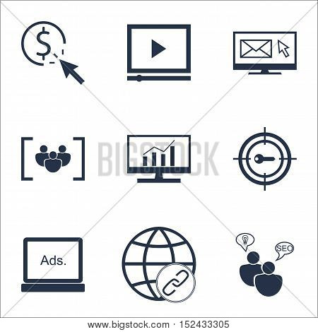 Set Of Advertising Icons On Questionnaire, Keyword Marketing And Market Research Topics. Editable Ve