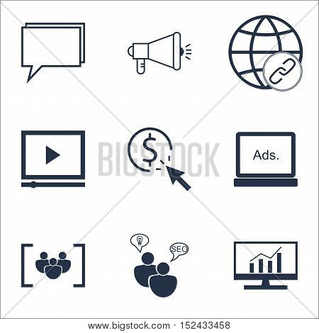 Set Of Advertising Icons On Media Campaign, Digital Media And Conference Topics. Editable Vector Ill