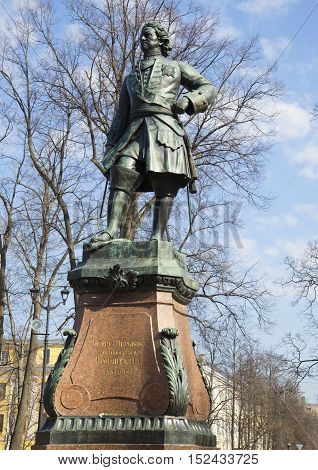 KRONSTADT, RUSSIA - APRIL 21, 2014: Monument to Peter the great, april day in Kronstadt