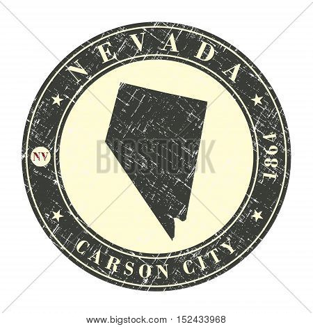 Vintage stamp with map of Nevada. Stylized badge with the name of the State year of creation the contour maps and the names abbreviations . Vector illustration