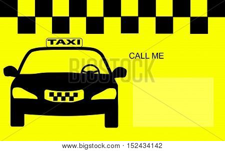 black image car-taxi on a yellow background