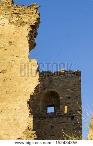 A fragment of the ruined tower in the medieval Genoese fortress in Sudak, Crimea.