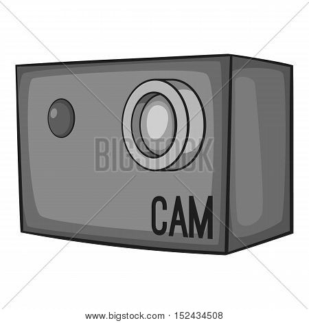 Action camera icon. Gray monochrome illustration of action camera vector icon for web