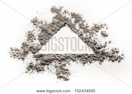 Triangle shape concept drawing illustration made in grey dust ash sand