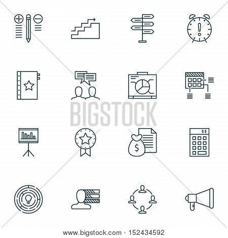 Set Of 16 Universal Editable Icons For  Topics. Includes Icons Such As Discussion, Growth, Opportuni