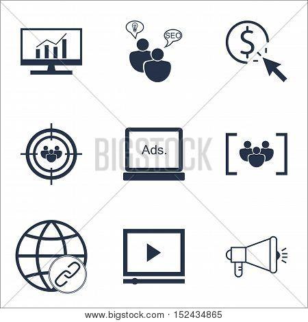 Set Of Marketing Icons On Digital Media, Seo Brainstorm And Market Research Topics. Editable Vector