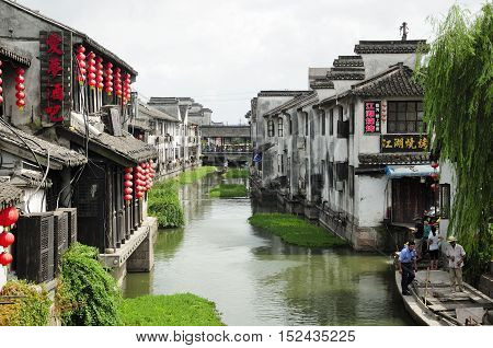 August 8 2015. Xitang Town China. The Chinese architecture and buildings lining the water canals to Xitang town in Zhejiang Province China.