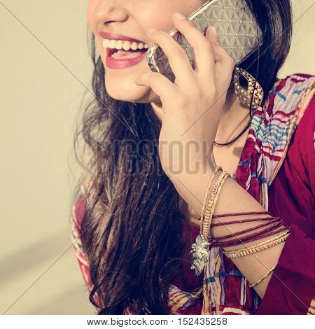 Girl Indian Telecommunication Talking Mobile Concept